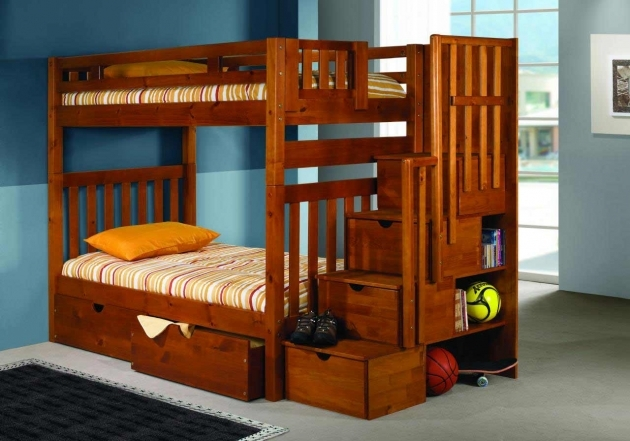 Wooden Bunk Beds With Stairs Photo 25
