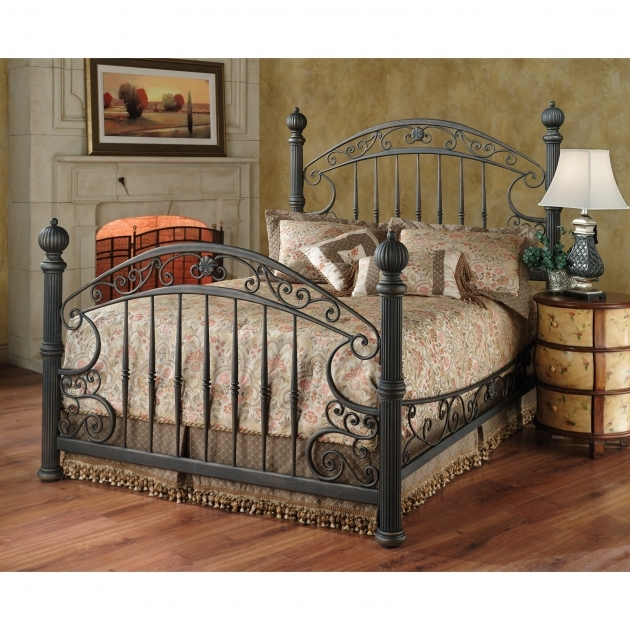 Wrought Iron Headboard Furniture Antique Carved Black Polished Iron Bed Frame Ideas With Curved Headboard And Footboard Photos 64