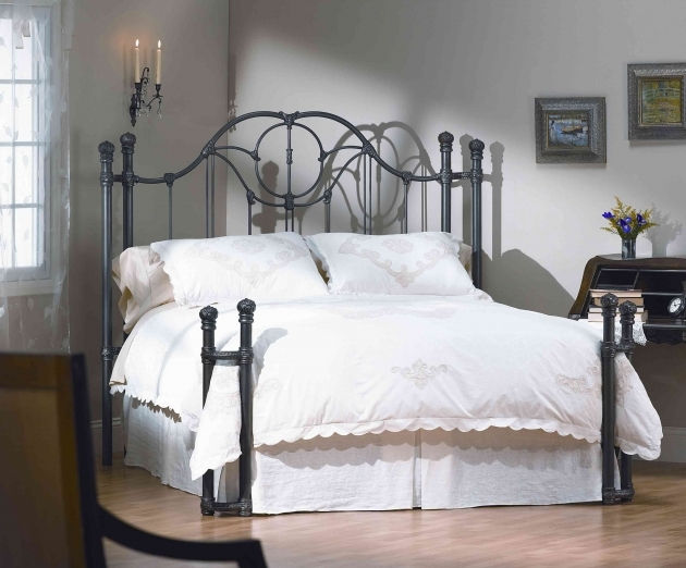 Wrought Iron Headboard Furniture Black Glaze King Size Bed Frame And Round Finials Accent Pictures 24