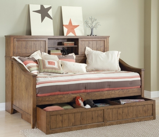 Daybed With Bookshelf Wooden Furniture Image 12
