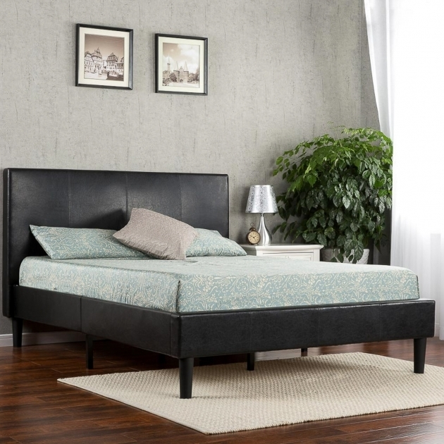 Deluxe Faux Leather Platform Bed With Mattress Dark Brown Zinus Photo 97
