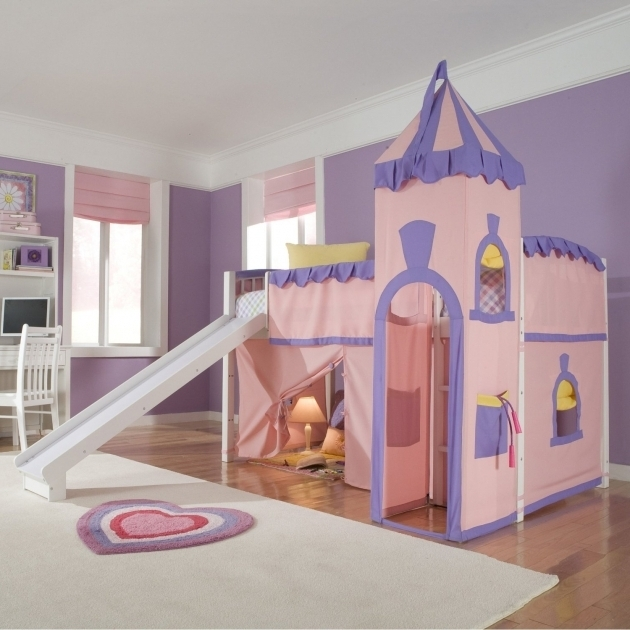 Metal Loft Bed With Slide Kids Princess Plans Photo 68