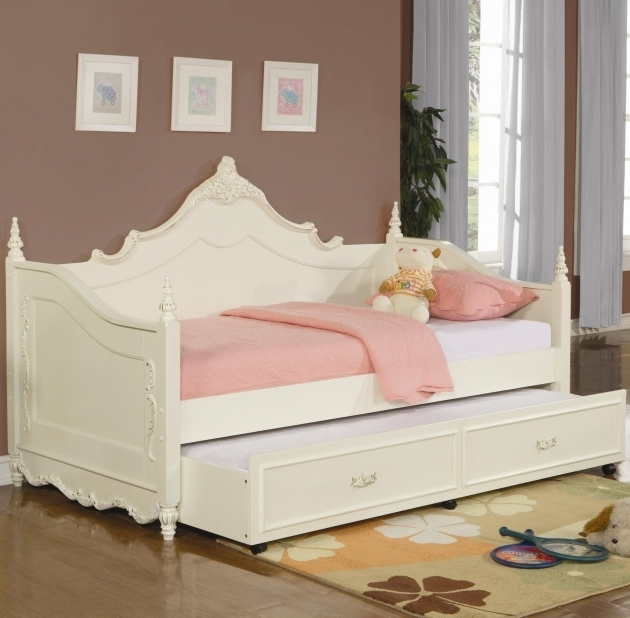 Princess White Full Size Daybed With Trundle Bed For Girls  Images 45