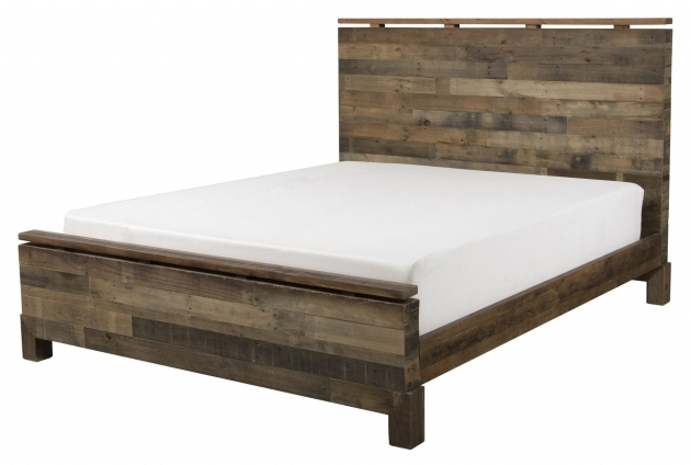 Rustic Walnut Wood Low Queen Platform Bed Frame With Headboard Images 81
