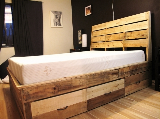 Twin Platform Bed Frame With Storage Modern Double Size White Oak Wood Low Profile Bed Frame Photo 82