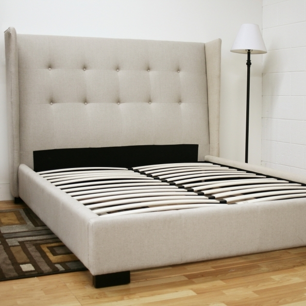 White Queen Platform Bed Frame With Headboard Padded N For Elegant Bedroom Decor Picture 02