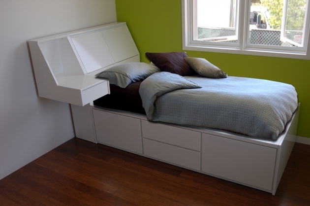White Twin Platform Bed Frame With Storage Headboard Also Floating Side Table Photos 80