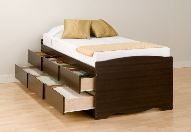 Wood Twin Platform Bed Frame With Storage 6 Tiered Drawers Underneath  Image 27