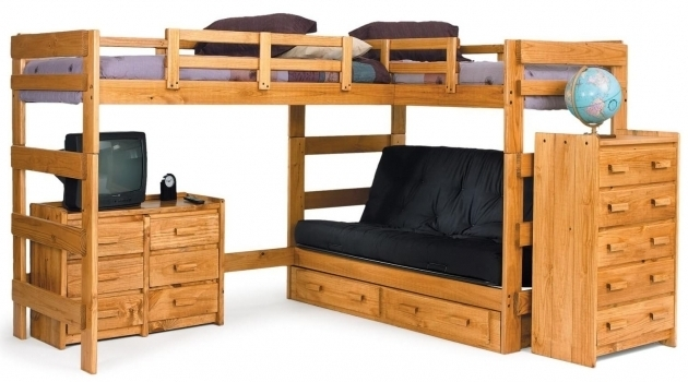 Wooden L Shaped Bunk Bed With Only Top Bunk With Space Saving Features Picture 52