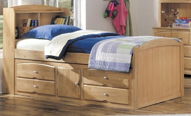 Wooden Twin Size Twin Platform Bed Frame With Storage Drawers And Cabinet Storage Underneath Plus Bookshelves Image 73