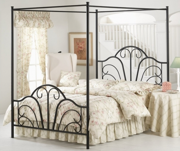 Black Wrought IronMetal Canopy Bed Frame Queen With White Pattern Bedding Bed Ideas Combined By Round Side Table Picture 28