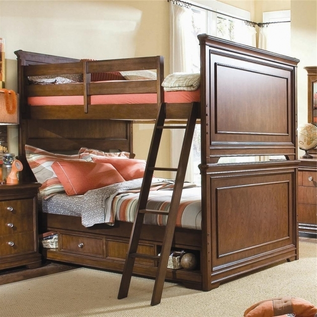 Bunk Bed With Queen Size Bottom Brown Wooden Bedroom Furniture Pictures 06