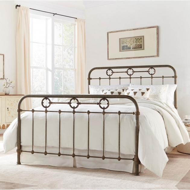 California King Metal Bed Frame Transitional Madera Metal Ornamental Fasion Bed Photos 65