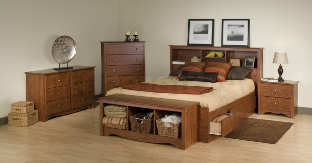 Cheap King Size Platform Bed With Drawers And Bookcase Headboard Pictures 02