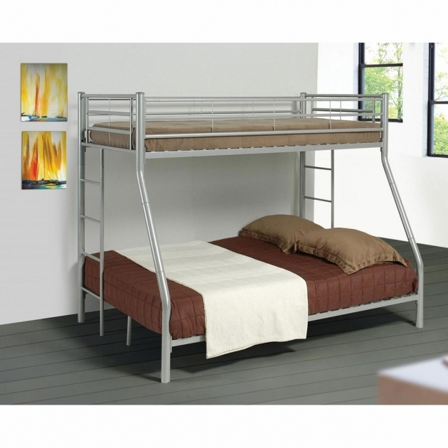 White Twin Over Full Bunk Bed With Mattress Included Metal