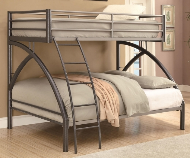 Contemporary Full Over Queen Bunk Bed With Stairs Metal Image 07