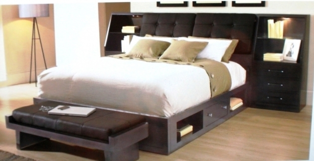 Espresso Queen Platform Bed With Storage And Headboard Tufted Bedside Cabinet Pictures 49
