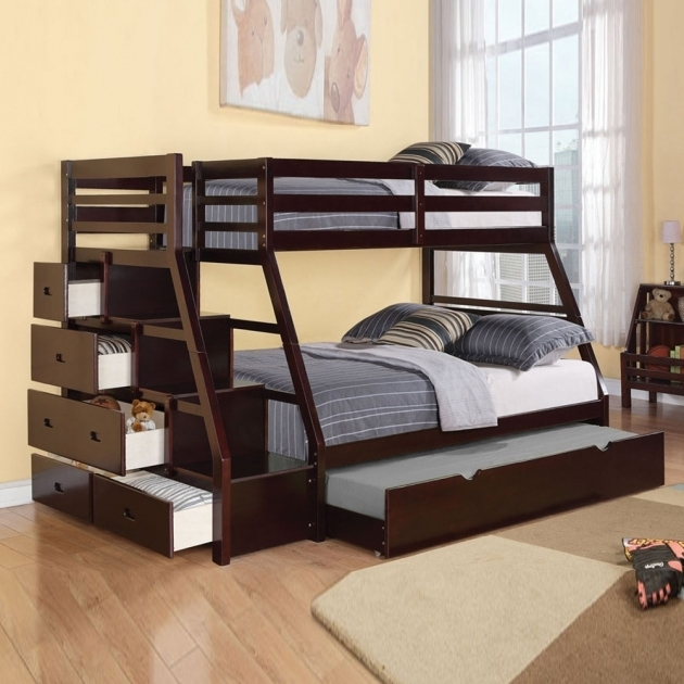 Full Size Modern Twin Over Full Bunk Bed With Mattress Included And Stairs Drawers Picture 74
