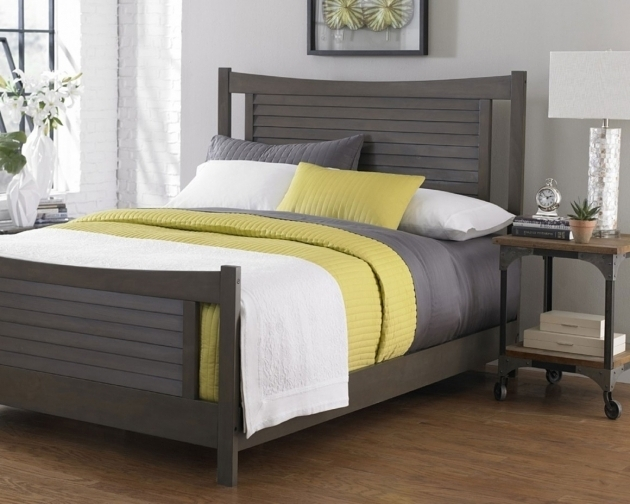 Gray Wood Headboard Bed Frames Photo 12