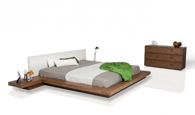 Low Nightstand For Platform Bed Modrest Opal Modern Low Profile Walnut Photo 59