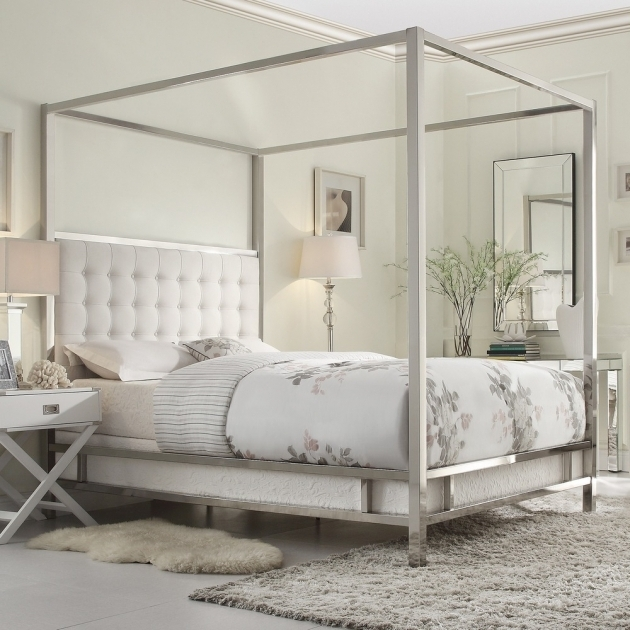 Metal Canopy Bed Frame Queen Silver  Images 07