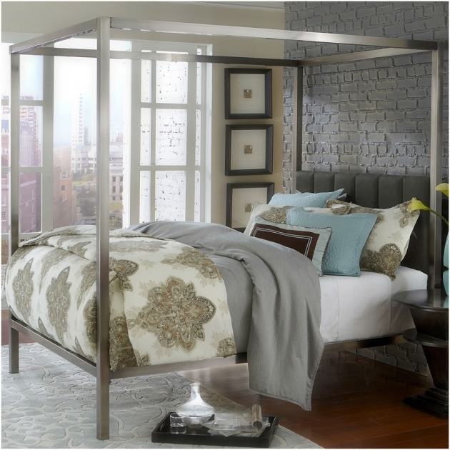 Silver Metal Canopy Bed Frame Queen Photo 48