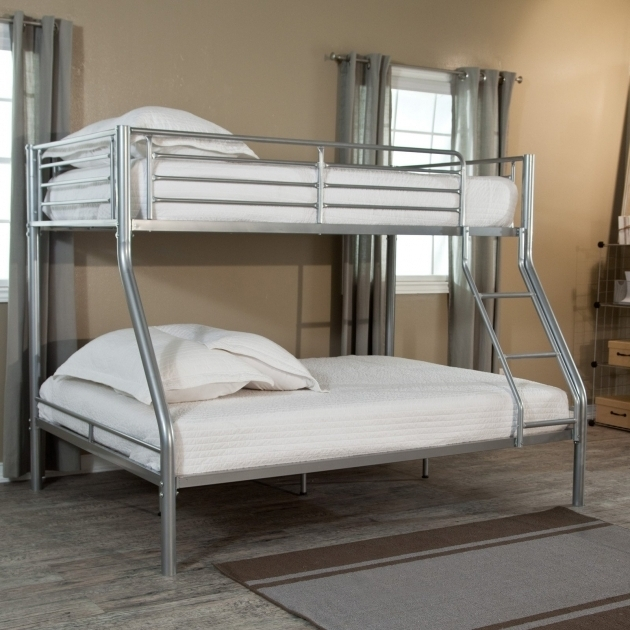 Stainless Steel Frame Twin Over Full Bunk Bed With Mattress Included With White Bedding And White Throw Pillows Picture 36