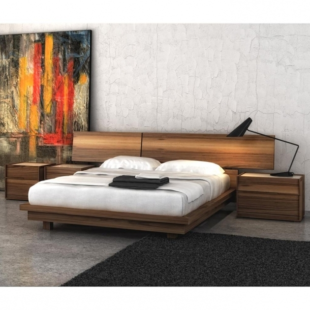Walnut Bedroom Low Nightstand For Platform Bed Images 46