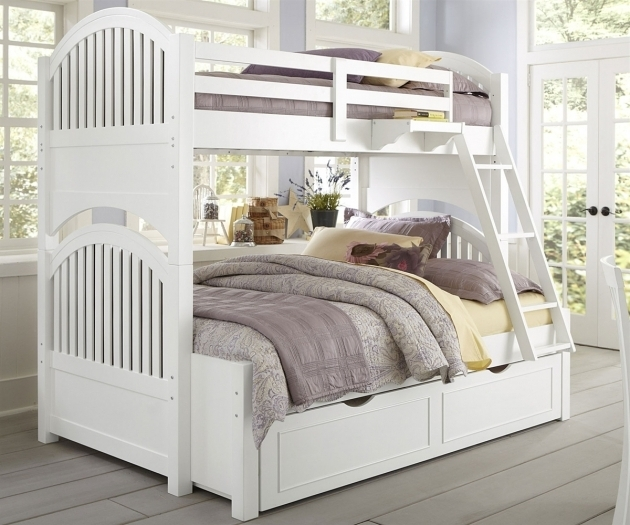 White Full Over Queen Bunk Bed With Stairs Elegant Bedroom Furniture Design Pictures 08