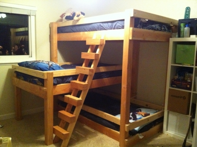 Wood Bunk Bed Ladder Only Built In Bunks Cabin Photo 40