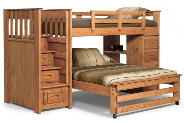 Wooden L ShapedBunk Bed With Queen Size Bottom Photo 87