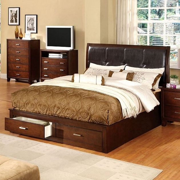 Brown Cherry King Size Platform Bed With Drawers Furniture Of America Enrico Photos 21