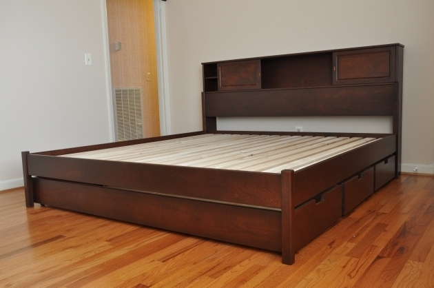 Floating Headboard Queen Brown Wooden Bed With Double Storage Images 88