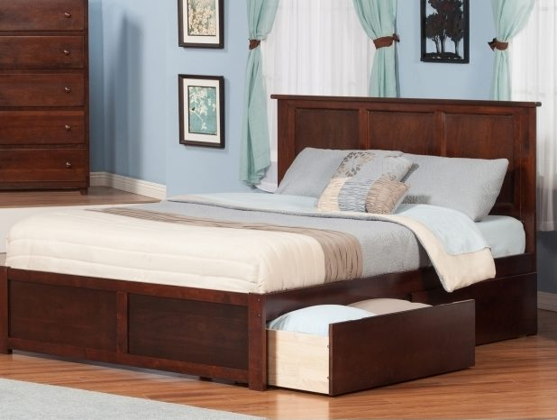 Gray King Size Platform Bed With Drawers And Bookcase Headboard Images