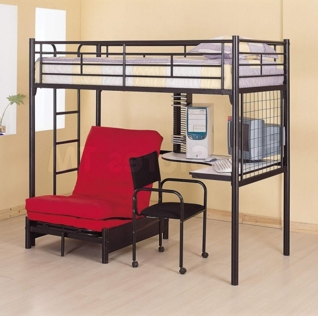 Bunk bed with desk cheap bed headboards for Cheap metal bunk beds
