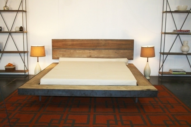 Minimalist Wood Floating Headboard Queen Platform Bed Furniture Design Bedroom Images 94