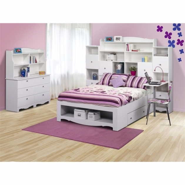 Nexera 317303 Pixel Kids Full Size Headboard With Bookcase Photo 00