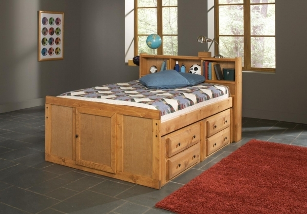 Oak Finish Children Kids Full Size Headboard With Bookcase Storage Photos 33