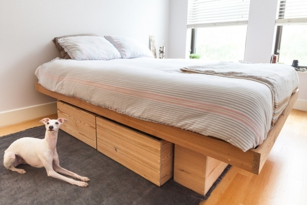 Platform Bed Pine Wood Full Size Box Bed With Drawers Photos 05