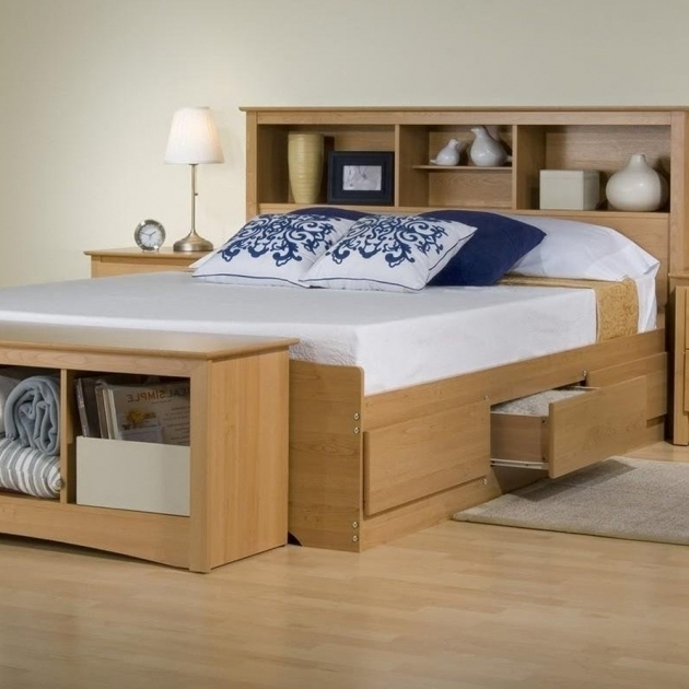 Platform Storage Bed Ideas With Bookcase Headboard Maple Pine Wood Full Size Box Bed With Drawers Photos 54
