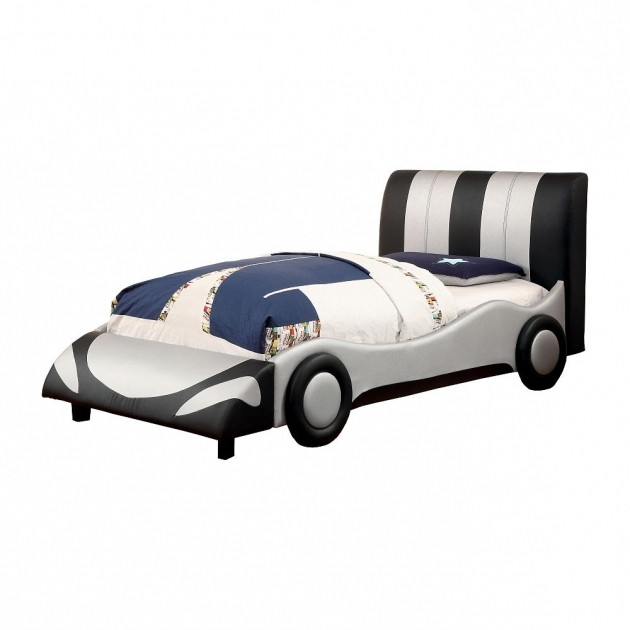 Unique Car Design Foam Leatherette Plastic Material Kids Full Size Headboard Solid Wood Construction Picture 70