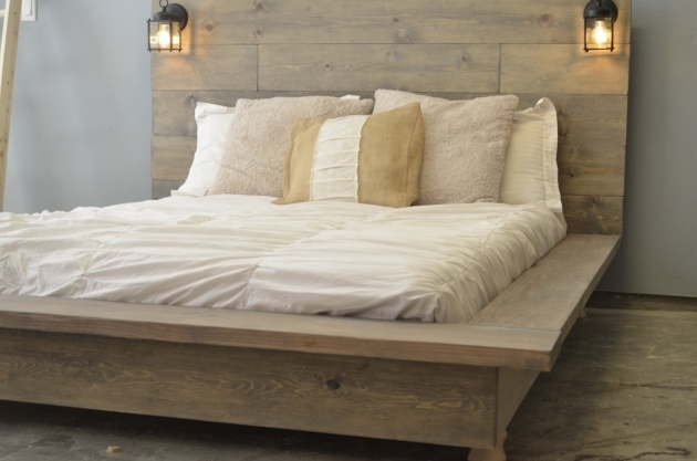 Wood Platform Bed Frame With Lighted Floating Headboard Queen Photos 03