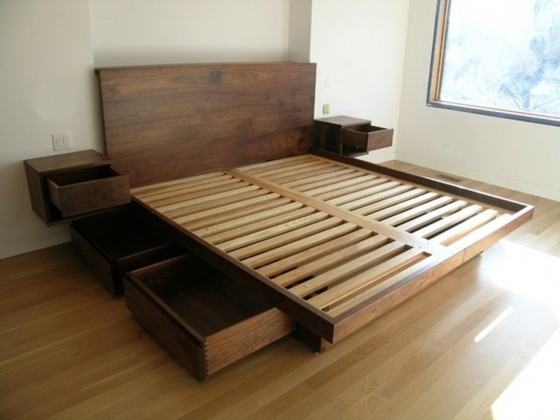 Wooden Cal King Platform Bed Frame With Drawers Photo 98