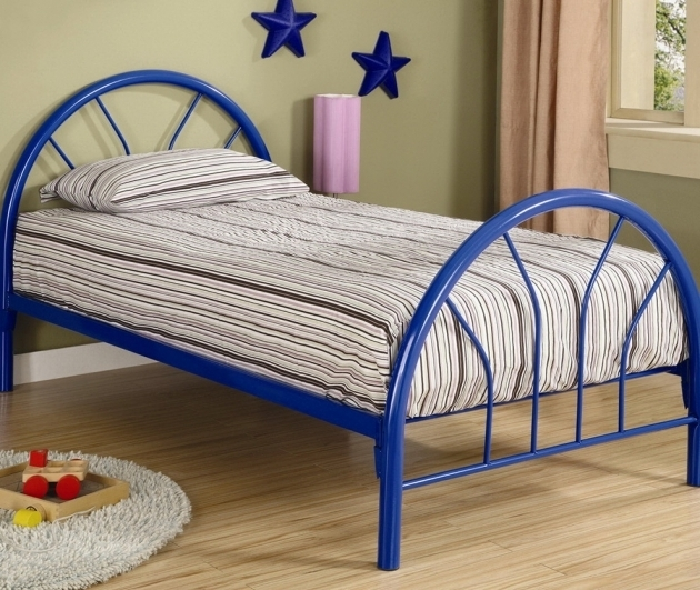 Blue Twin Metal Bed Frame Headboard Footboard Photo 82