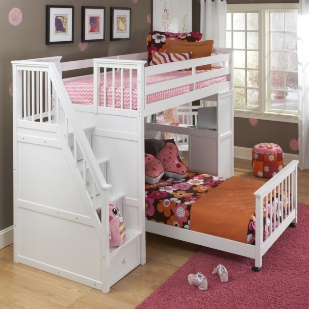 Full Over Queen Bunk Bed With Stairs White Cheap Picture 27