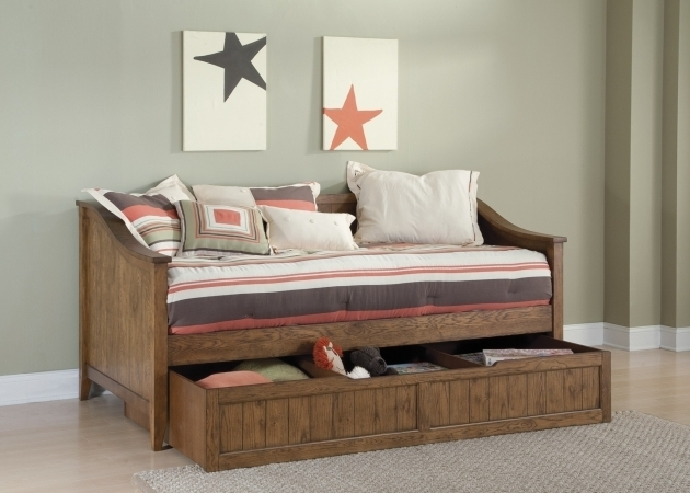 Light Brown Wooden Daybed For Boy With Storage Photos 21
