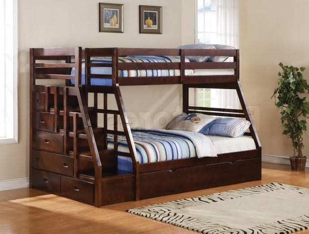 Twin Full Over Queen Bunk Bed With Stairs Pictures 32