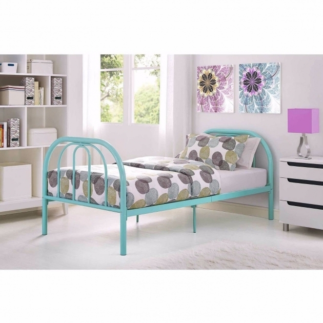 Twin Metal Bed Frame Headboard Footboard Bed Kids Furniture Teal Photos 39