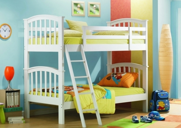 Bunk Beds For Girl And Boy Bedroom Design Ideas With White Wooden Bunk Bed And Sloping Ladder Floor Picture 64