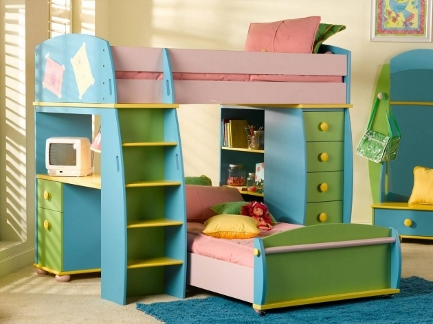 Rainbow Bunk Beds For Girl And Boy Blue Yellow Green Kids Bunk Bed Storage Image 17